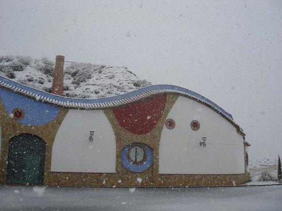 Bodegas Pago de Almaraes: Entrada de la bodega durante una gran nevada
