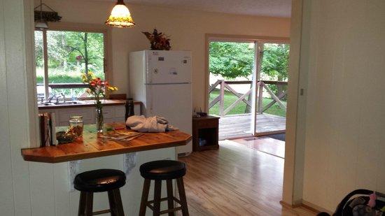 Springwood Cabins: Kitchen/Dining/back deck