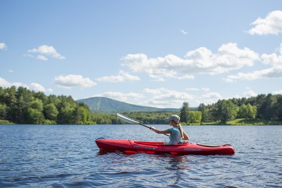 Yoga BnB: Kayaking with Stratton Mt in the background