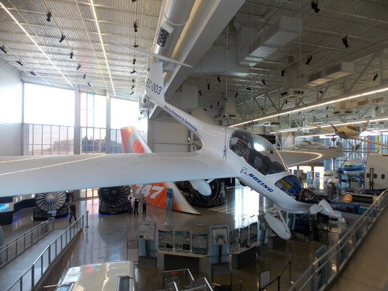 Future of Flight Aviation Center & Boeing Tour: A chase plane is suspended from the ceiling