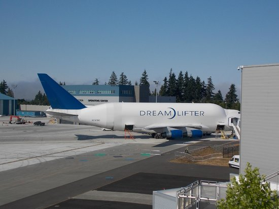 Future of Flight Aviation Center & Boeing Tour: The Dreamlifter is parked next to the Future of Flight