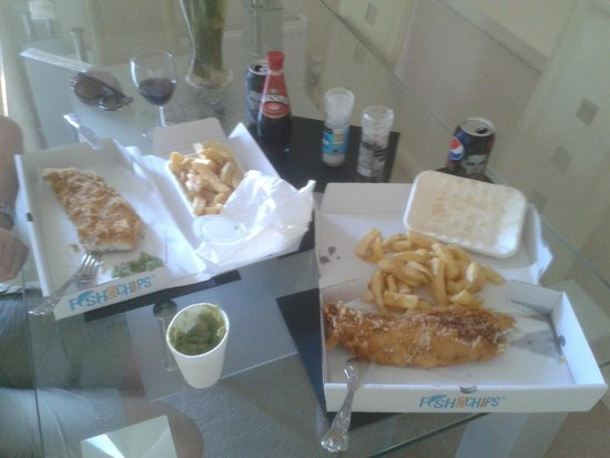 Catch : Cod, chips and peas at home with my gorgeous girlfriend XX