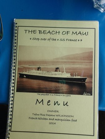 La Plage de Maui menu showing the SS France (later the SS Norway)