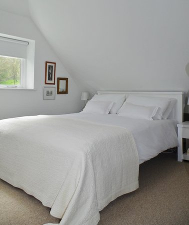 Blandy's Bed & Breakfast: A double bedroom overlooking crystal clear Letcombe Brook.