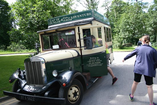 Ross Castle Lodge: Front door service - vintage tour bus