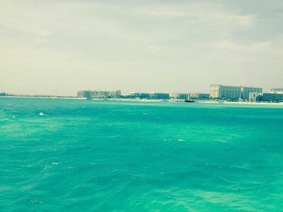 The Ritz-Carlton, Aruba: View form our snorkel catamaran - the Ritz is the last resort on the island!