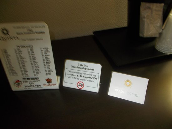 La Quinta Inn Richmond : Smoke free hotel, if you smoke it will cost you more than your room