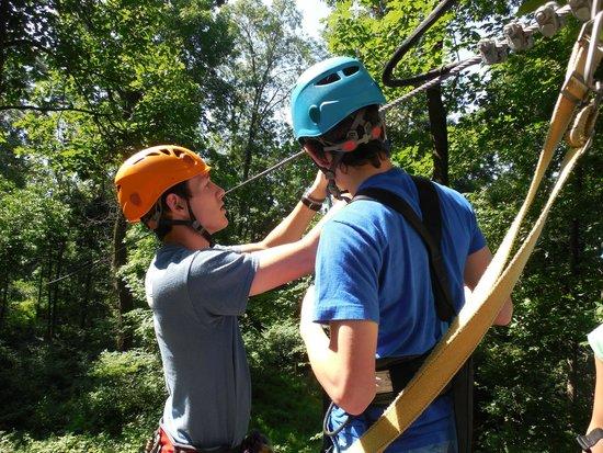 Refreshing Mountain: Tour guide Dan connecting my nephew to the zipline
