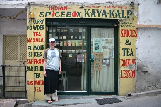 Indian Spice Box: Jennifer in front of Spice Box