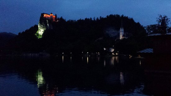 Krim Hotel: Lake bled at night. Needs some more lights as its so dark that you can barley see anything!