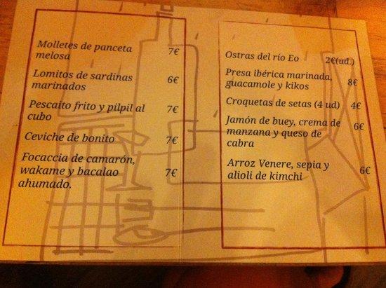 Restaurante El Cencerro : Carta de tapas