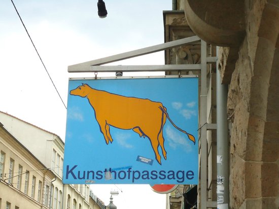 Kunsthofpassage flag-you will know you have arrived