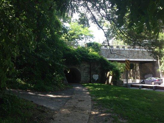 C & O Canal: Bike Tunnel near Little Falls (shows C&O bike path bridge)