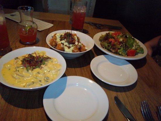 The New Public House: Blue cheese tater tots (a little soggy), green chile macaroni and cheese (creamy), tomato and ro