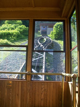 Horseshoe Curve National Historic Landmark: Looking down out of the incline trolley car
