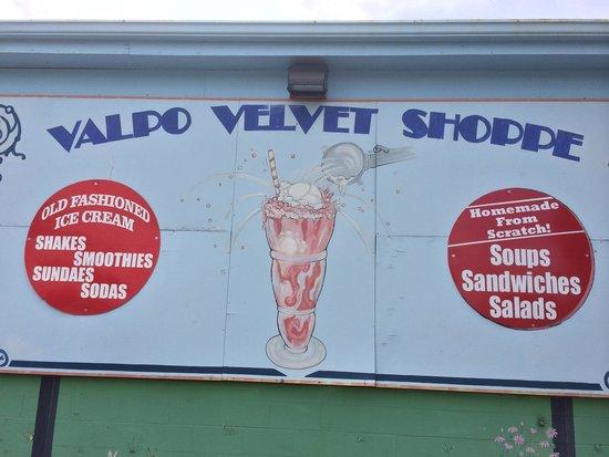 Valpo Velvet Ice Cream: Sign outside of shop