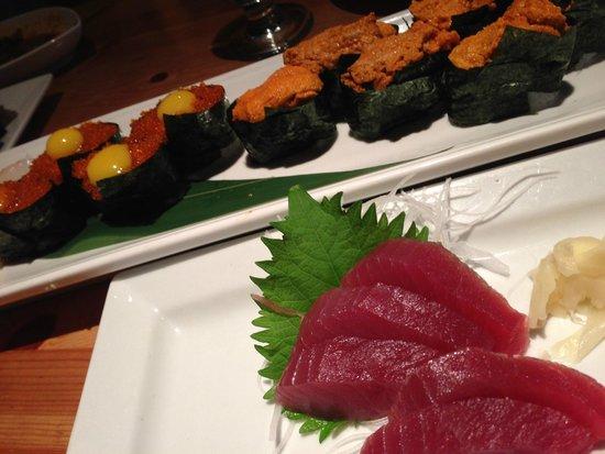 Tobiko (Flying Fish Roe) with Uzura (Quail Egg) sushi, Uni sushi ...