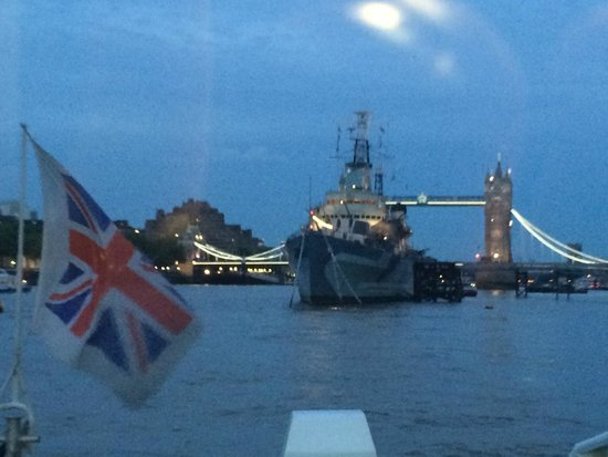 Cheval Three Quays: On the Way back from London Eye on the River Bus with HMS Belfast & Tower Bridge.