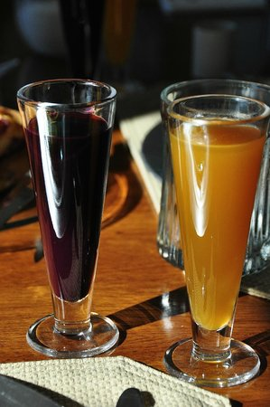 Steamboat Castle Bed & Breakfast: Homemade Grape Juice and Fresh Squeezed Orange