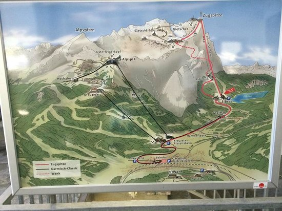 Zugspitze : Map showing routes up mountain