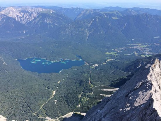 Zugspitze : View of Eibsee Lake next to gondola base station in Germany