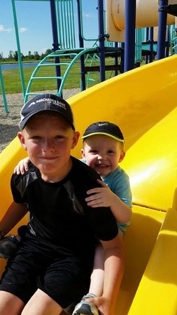Erie Islands Resort Marina : Both Grandsons playing on the play ground.