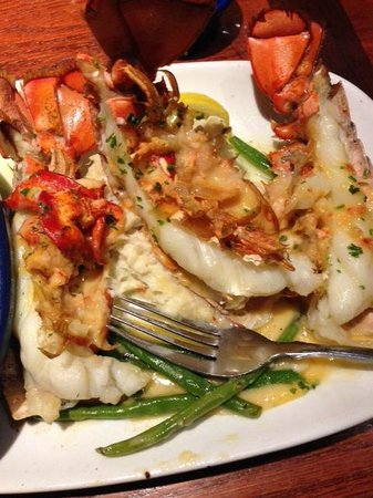 Red Lobster: lobster covered in lobster with mashed pot. and string beans