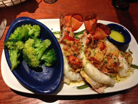 Red Lobster: lobster covered in lobster with mashed pot. and string beans and broccoli