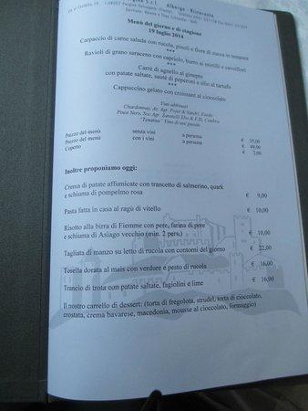Castel Pergine : uno dei menu