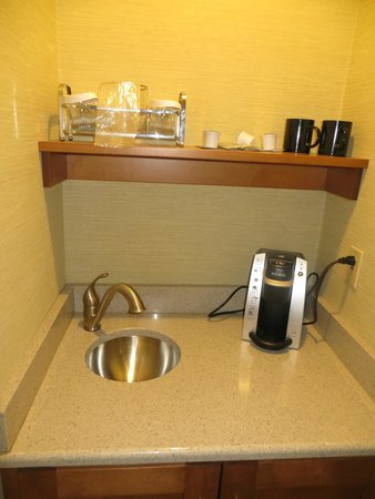 Glidden House: sink and coffee maker