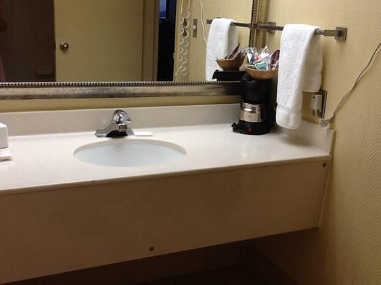 Ramada Plaza Resort and Suites Orlando International Drive : Bathroom with coffee maker