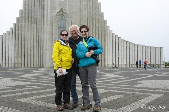 Islandsmyndir Day Tours: Us with Rafn in front of Hallgrimskirkja.