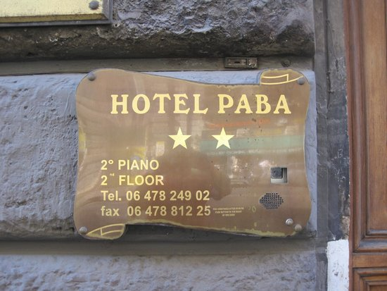 Hotel Paba: Outside Sign