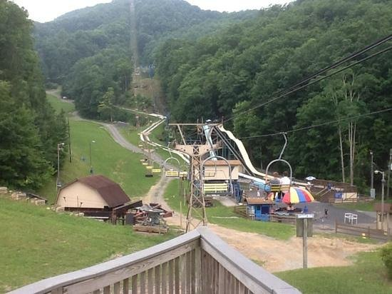 Ober Gatlinburg Amusement Park & Ski Area: View up the mountain and the Alpine Slide track down.