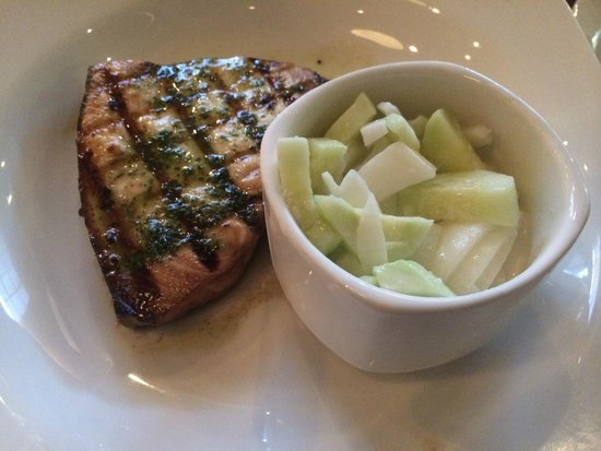 Union Station: Grilled swordfish with creamy cucumber and onion salad