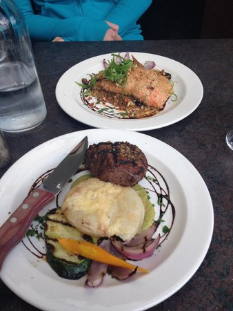 Olive Bistro and Lounge: Steak with smoked cheddar scalloped potatoes and oat crusted salmon with cranberry quinoa