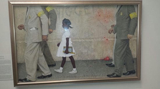สตอกบริดจ์, แมสซาชูเซตส์: Famous painting of Federal marshalls walking a young African American girl to school following t