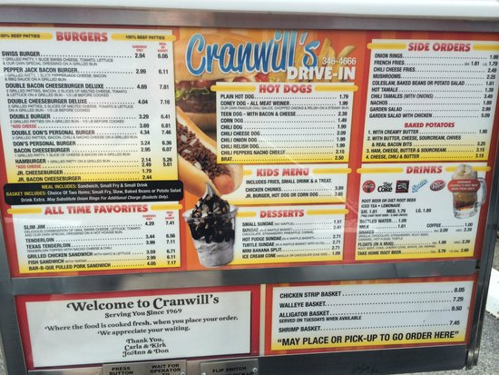 A Cranwill's Drive in : Place your order from your car