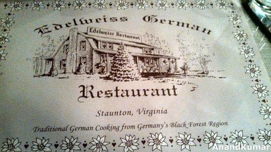 Edelweiss Restaurant: Menu