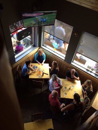 The Grizzly Paw Brewing Company: Looking down from upstairs table.