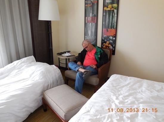The Peninsula Manila: my dad relaxing at the manila penn
