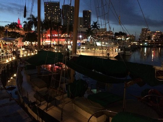Latin American Bayside Cafe : At night view from the table