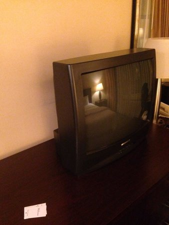 Garden Inn & Suites: Very old tv without remote control