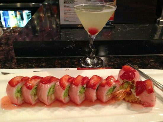 Wasabi Bistro: The new pink lady sushi roll was excellent I would recommend this dish to anyone!