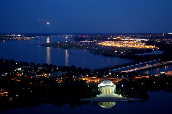 Washington Monument: View from the top at night