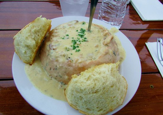 Moonstone Beach Bar & Grill: Clam Chowder in a Sourdough Bread Bowl