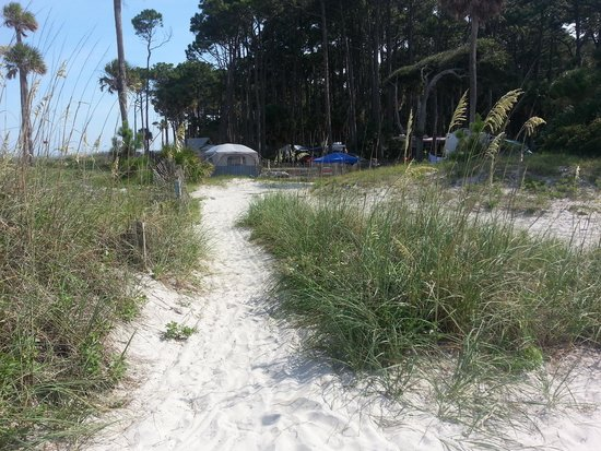 Hunting Island State Park Campground: Path to the beach from Site 73.