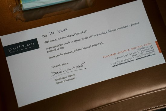 Pullman Jakarta Central Park : Welcome note