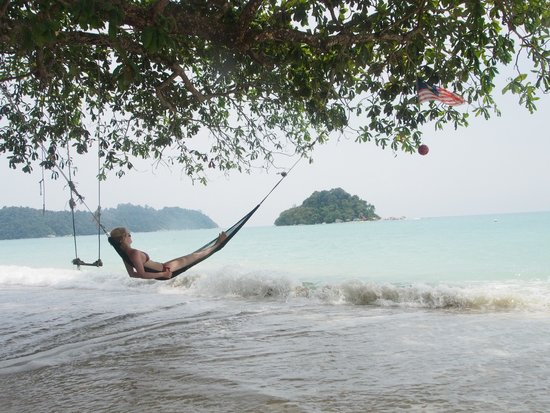 Coral Beach : Relaxing in a hammok