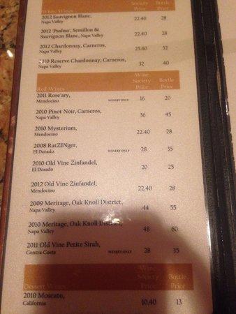 The Meritage Resort and Spa: Wine tasting menu